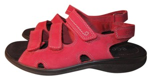 Ecco Nubuck Comfort Walking Leather Red Sandals