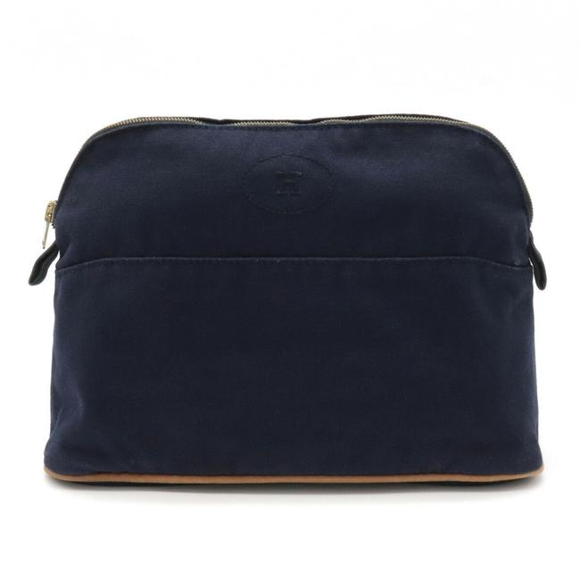 Item - Bolide Pouch 25 Accessory Case Cosmetic Makeup Multi Travel Blue Navy Canvas / Leather Clutch