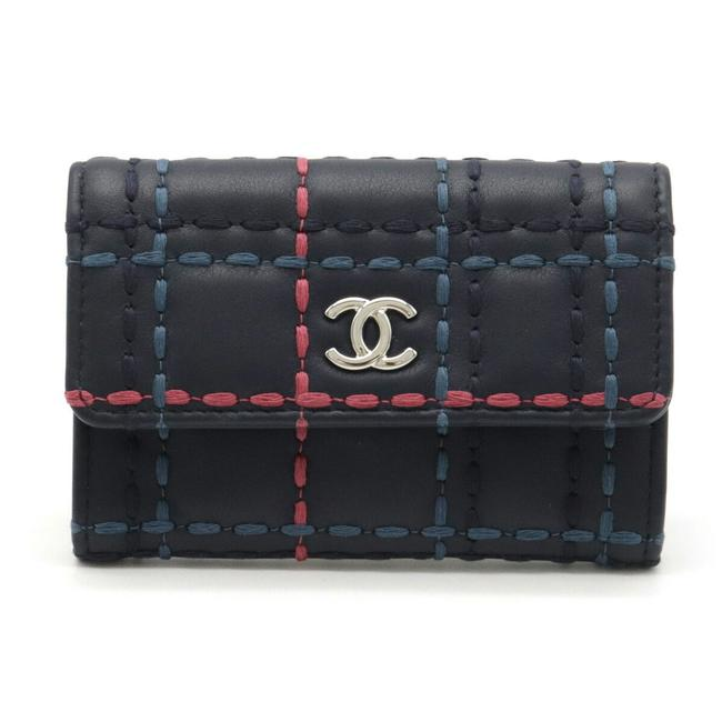 Item - Navy / Pink Wild Stitch Coco Mark Card Case Business Holder Pass Coin Leather Blue A50169 Wallet
