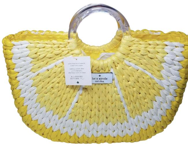 Item - Lemon Picnic Perfect Yellow and White Wicker Tote
