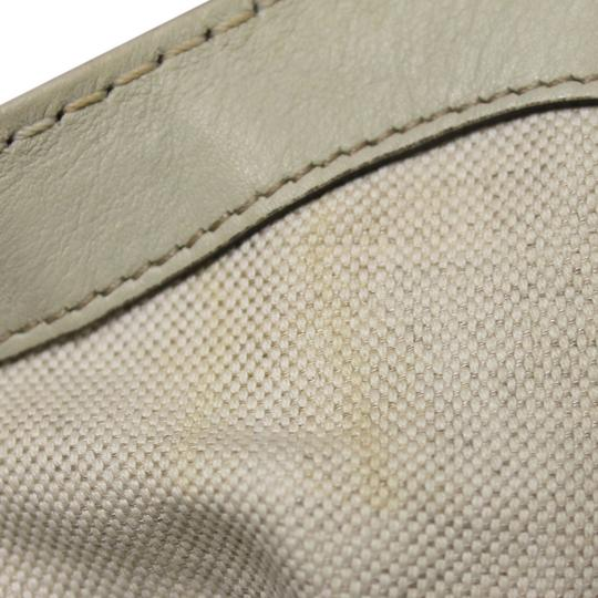 Gucci Pre-owned Handbags Canvas Leather Tote in Beige/Off-White