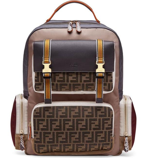 Item - New Large Ff Logo Zucca Tote Multicolor Nylon and Leather Backpack