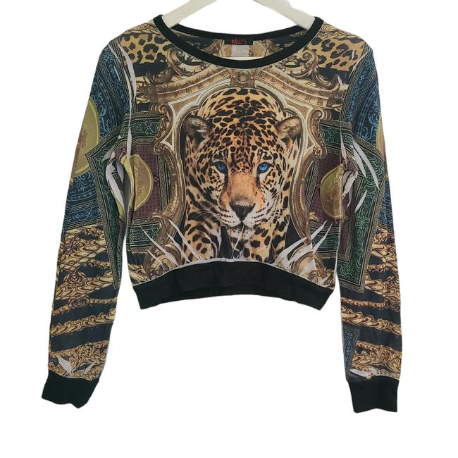 Item - Womens Shirt Sublimation Long Sleeves Leopard Blue Eyes 1161 Multicolor Sweater