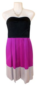 Gianni Bini Pleated Strapless Colorblock Formal Dress