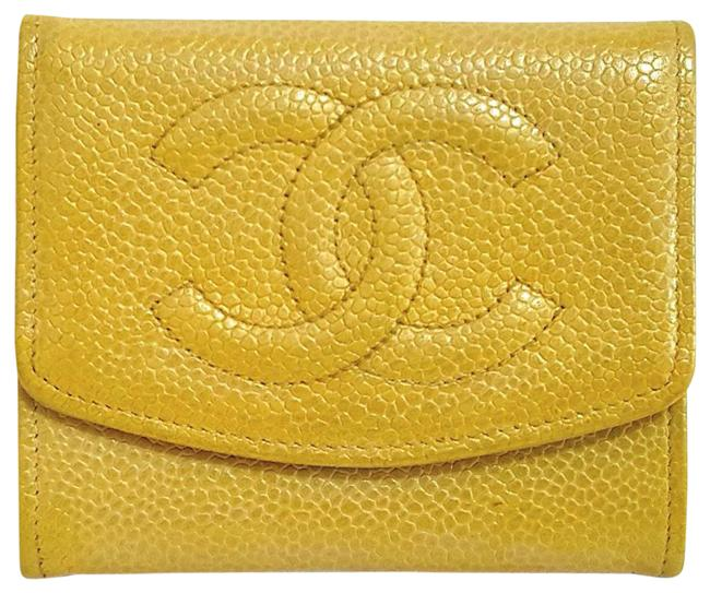 Item - Yellow Timeless Quilted Mini Coin Credit Card Cash Caviar Purse Wallet