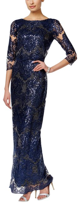Item - Navy Sequined Lace Illusion Long Formal Dress Size 6 (S)