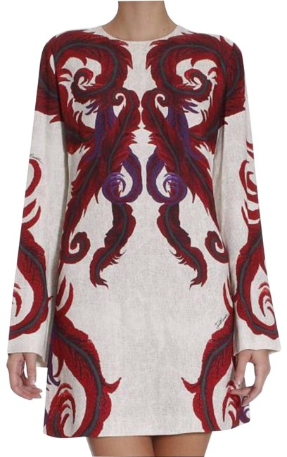 Item - Cream Purple Red A Line 40 Cocktail Dress Size 4 (S)
