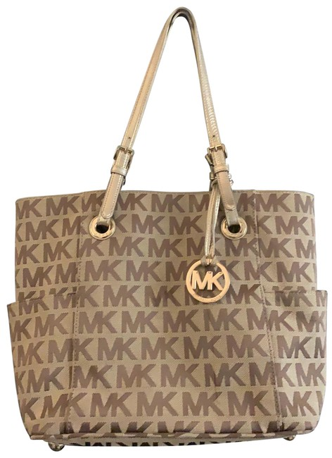 Item - Jet Set Logo Tan/Brown and Gold Canvas Tote