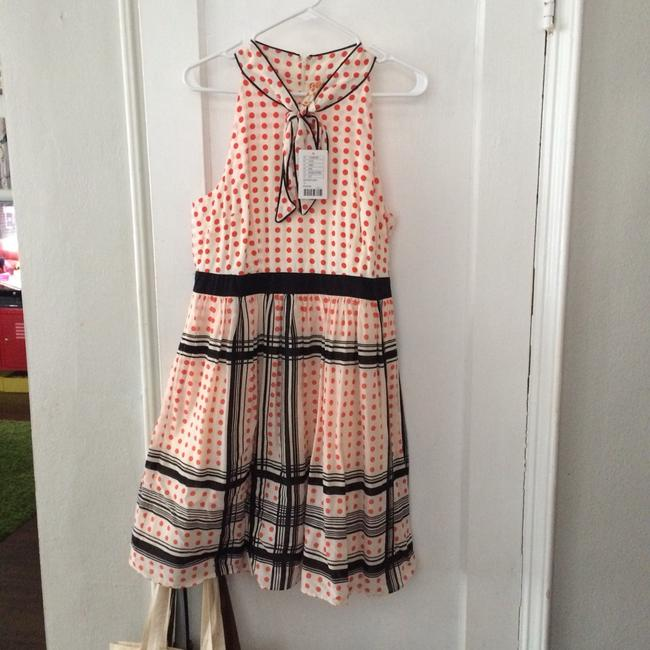 Item - Cream with Orange Dots and Black Stripes Night Out Dress Size 12 (L)