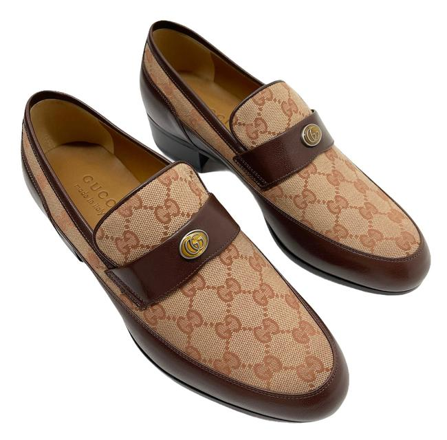 Item - Beige/Brown Monogram Canvas Leather Quentin Men's Loafers Formal Shoes Size US 8 Regular (M, B)