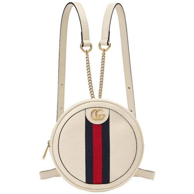 Item - Ophidia Round Web Leather White Backpack