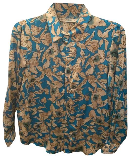 Item - Turquoise Beige Flowers 03031172330036 Button-down Top Size 8 (M)