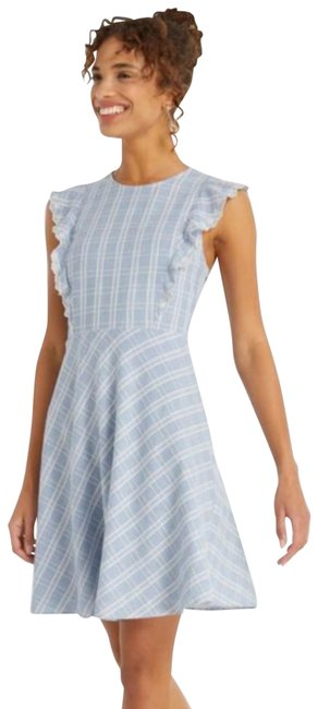 Item - Blue White Linen Embroidered Short Night Out Dress Size 4 (S)