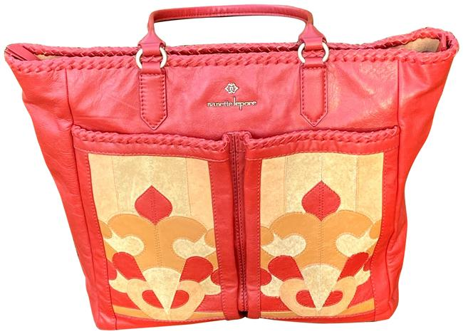 Item - With Suede Accents Red Leather Tote