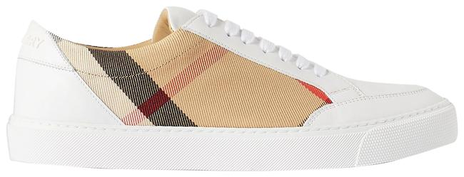Item - Beige Checked Canvas and Leather Sneakers Size EU 38.5 (Approx. US 8.5) Regular (M, B)