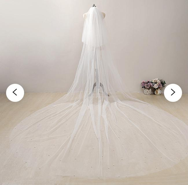 Item - White Long Cathedral with Pearls and Two Tier Blusher Bridal Veil