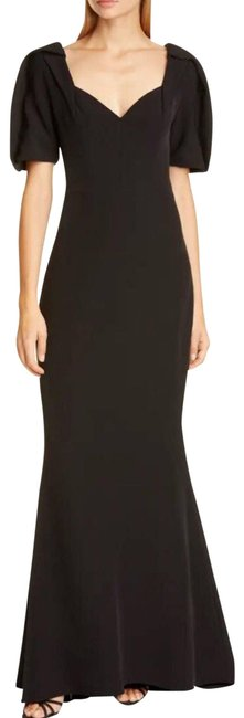Item - Black Puff Sleeve Crepe Gown Casual Maxi Dress Size 12 (L)