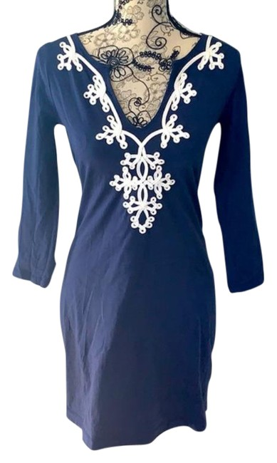 Item - Blue White Mid-length Night Out Dress Size 0 (XS)