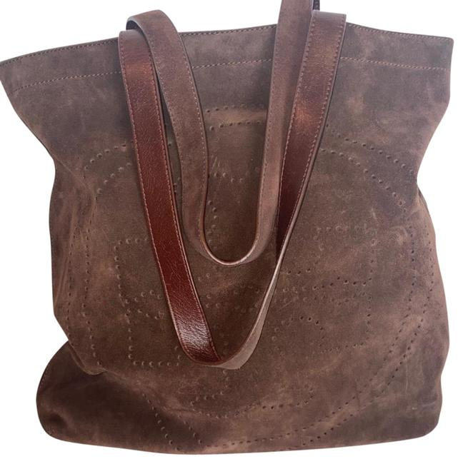 Item - Logo Chocolate Brown Suede Leather Hobo Bag