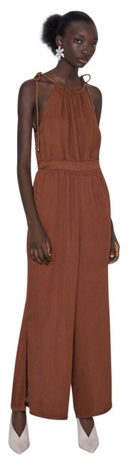 Item - Brown With Cord Straps Romper/Jumpsuit