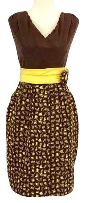 Item - Brown Yellow Baraschi Storm Of Shapes Mid-length Cocktail Dress Size 10 (M)
