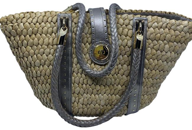 Item - Shopping XL W W/ Leather Trim Gray Beige Woven Tote