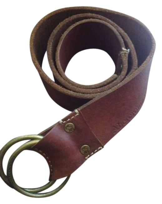 Item - Brown Brass Ring Leather Belt