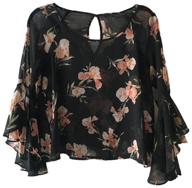 Item - Black Floral with Statement Sleeves Blouse Size 4 (S)