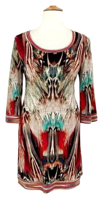Item - Red Tan Jersey Feather Pattern Knit Mid-length Work/Office Dress Size 14 (L)