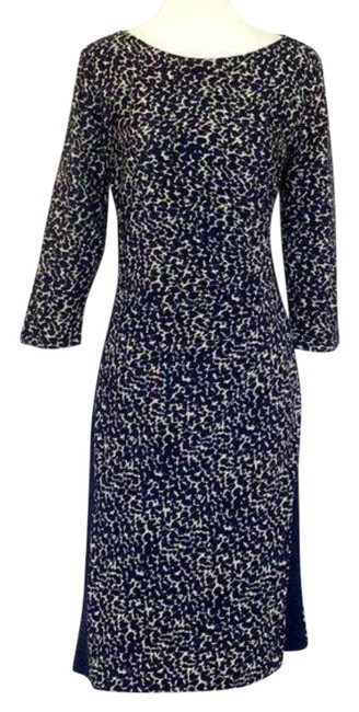 Item - Tan Blue Animal Print Ruched Mid-length Work/Office Dress Size 6 (S)
