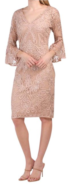 Item - Beaded Mesh Bell Sleeve Mid-length Cocktail Dress Size 6 (S)