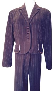 Larry Levine 3 Piece Brown & Pink Pinstripe Skirt/Pant Suit