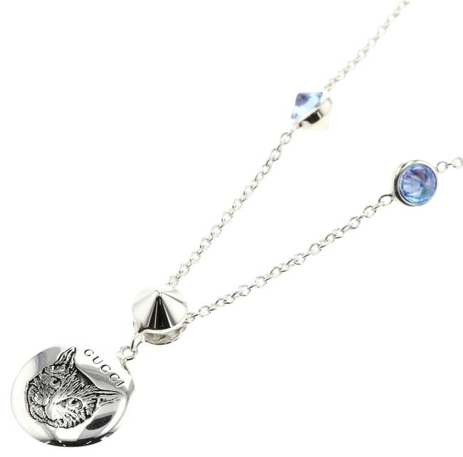Item - Blue Blind For Love Cat Silver 925 Colored Stone Ladies Necklace