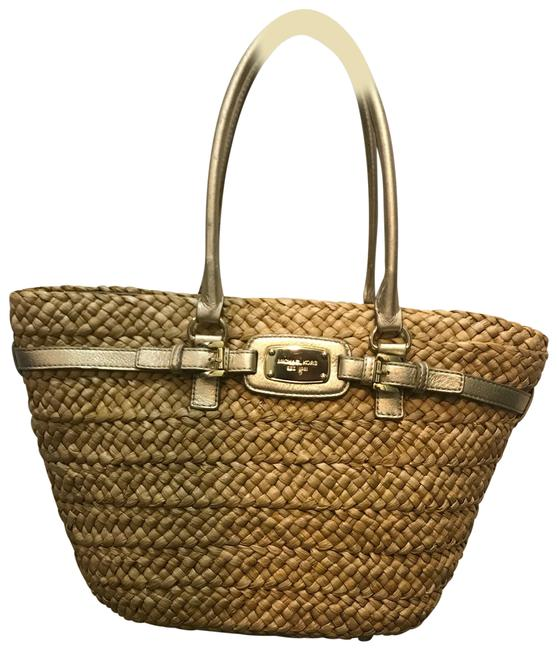 Item - Hamilton Natural Straw with Gold Tote