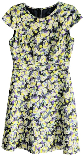 Item - Yellow Green Floral Gem Abstract Clover Mid-length Cocktail Dress Size 6 (S)