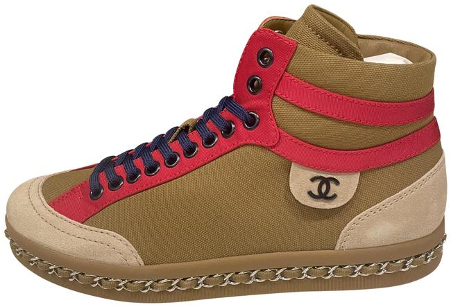 Item - Brown/Red/Beige 20c Fabric Leather Lace Up Chain High Hi Top Kicks Sneakers Size EU 37 (Approx. US 7) Regular (M, B)