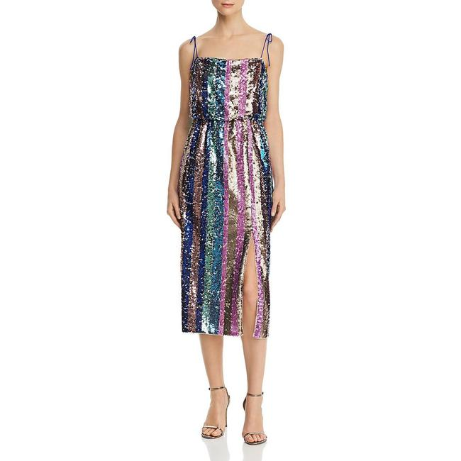 Item - Sequined Striped Mid-length Cocktail Dress Size 2 (XS)