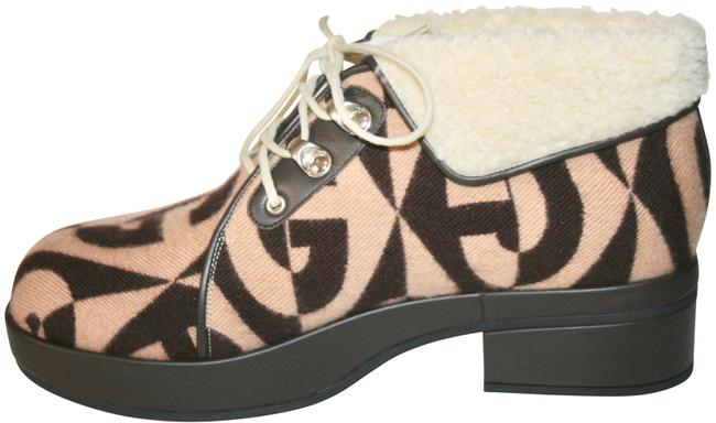 Item - Brown Gg Wool Fur Ankle Boots/Booties Size US 10 Regular (M, B)