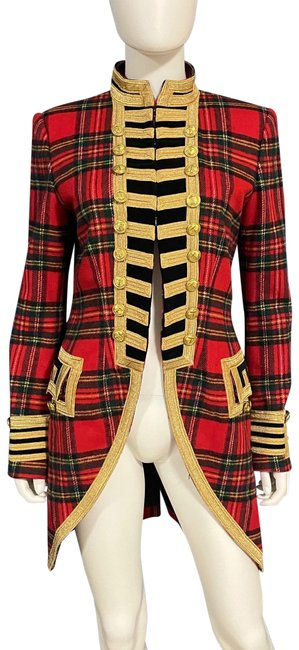 Item - Red Plaid Tweed Gold Military Tailcoat Coat Size 8 (M)