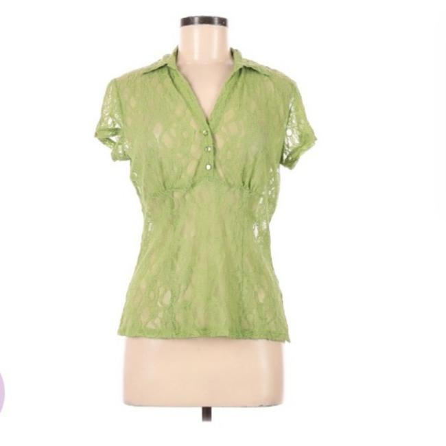 Item - Lime Green Lace Collared Vneck Tailored Professional Blouse Size 8 (M)