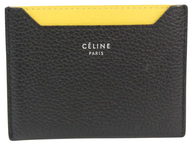Item - Black / Yellow Leather Card Case Wallet
