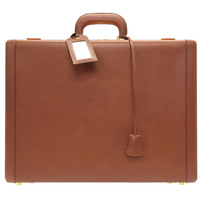 Item - Gold Metal Fittings □ A Engraved Vintage Attache Case 0112 Brown Ardennes Leather Weekend/Travel Bag