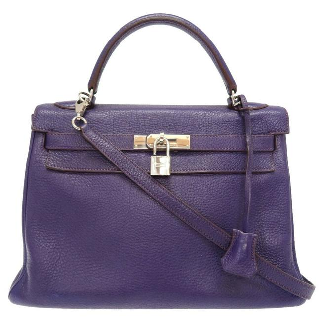 Item - Kelly Inner Stitch Ultra Violet Silver Metal Fittings □ N Engraved Handbag Purple Taurillon Clemence Leather Satchel