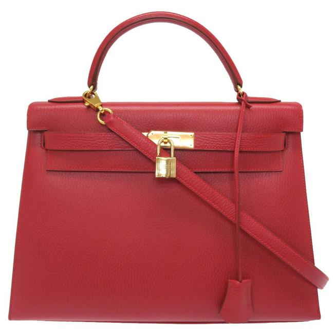 Item - Kelly 32 Outer Stitch Gold Metal Fittings 〇 X Engraved Handbag Red 0096 Rouge Vif Ardennes Leather Satchel