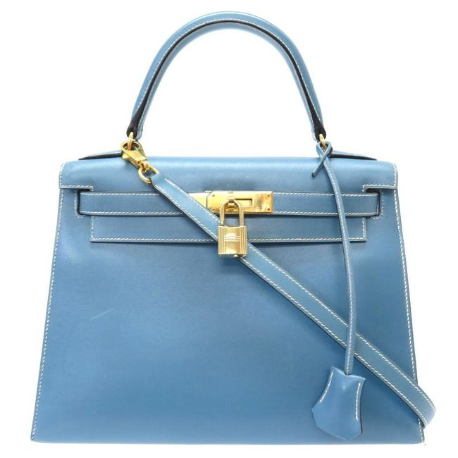 Item - Kelly 28 Outer Sewing White Stitch Gold Hardware □ B Engraved Handbag 0003 Blue Jean Box Calf Leather Satchel