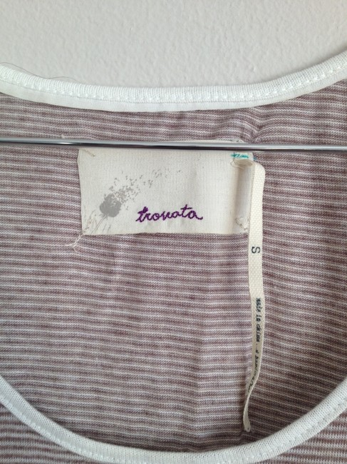 Trovata Top Tan and cream white stripe