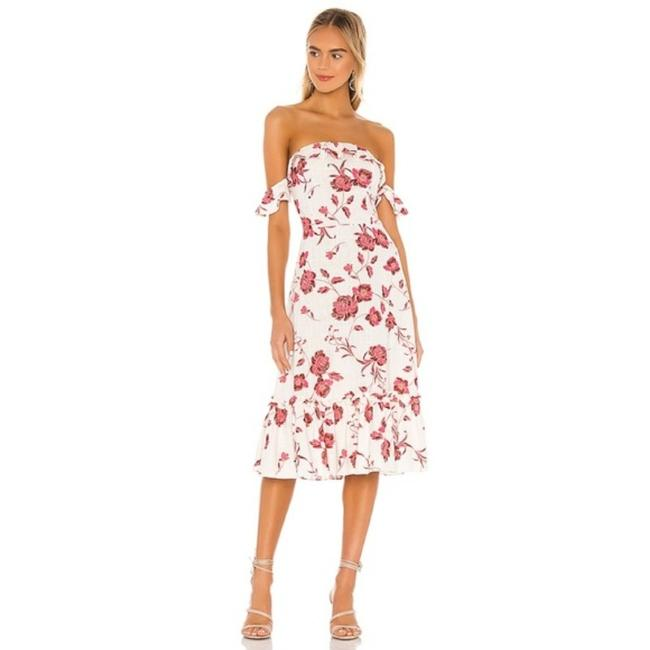 Item - White Red Oona In Abstract Peony Mid-length Casual Maxi Dress Size 12 (L)