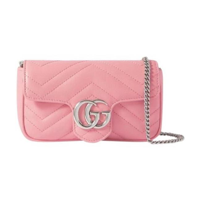 Item - Marmont Super Mini Gg Logo Quilted Leather Pink Cross Body Bag