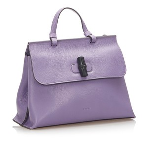 Gucci 1cgust027 Vintage Leather Satchel in Purple