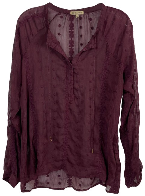 Item - Burgundy Red Purple Peasant Embroidered Blouse Size 12 (L)